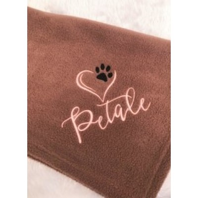 Personalised Pet Blanket Heart And Pawprint design