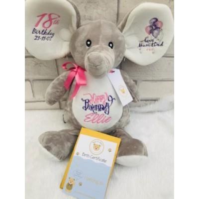 Personalised  Grey Elephant-Teddy Bear