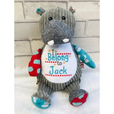 Personalised Hippo Cubbies Teddy Bear