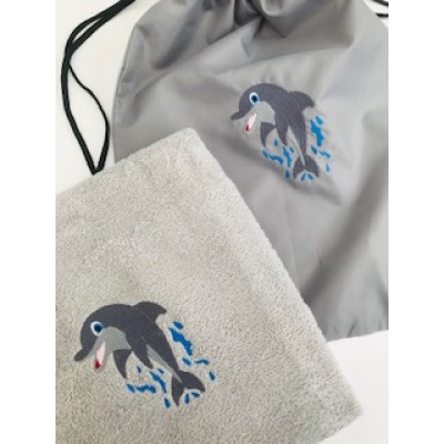 Personalised Dolphin Bath Towels And Gym Bag