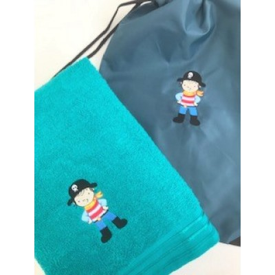Personalised Pirate Towel And Gym Bag
