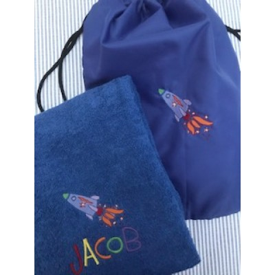 Personalised Space Ship Towel And Gym Bag