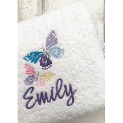 Personalised Bath Towel Butterfly Design