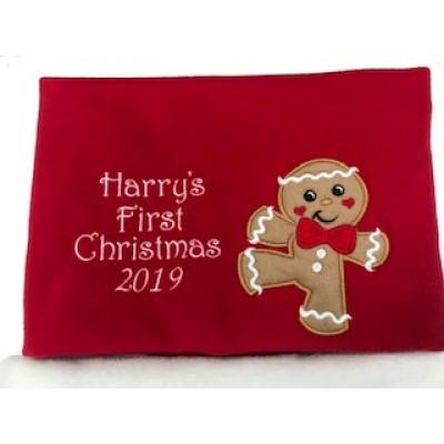 Personalised Christmas Baby Blanket- Gingerbread Man