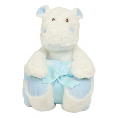 Hippo And Blanket Gift Set-Blue