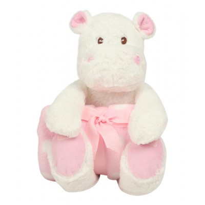Hippo And Blanket Gift Set-Pink
