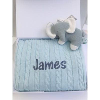 Personalised New Baby Boy Blanket & Little Elephant Soft Toy