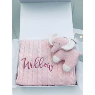 Personalised New Baby Girl Blanket & Little Elephant  Soft Toy