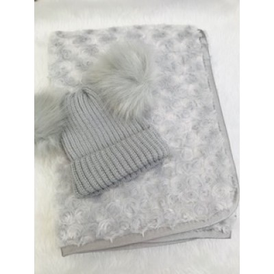 Personalised Grey Baby Blanket And Hat Gift Set