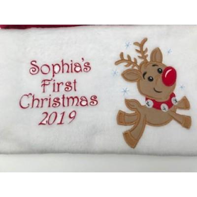 Personalised  Christmas Baby Blanket-Reindeer