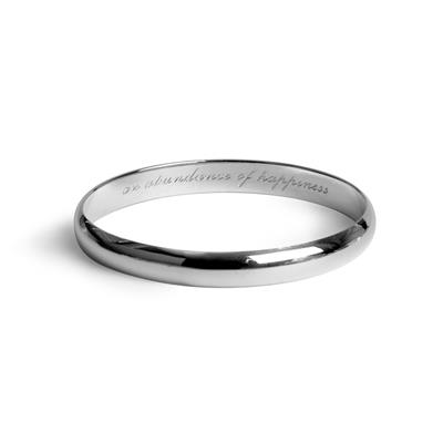 Silver Message Bangle Happiness - Tales From The Earth