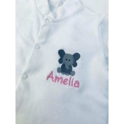Personalised Little Elephant Sleepsuit