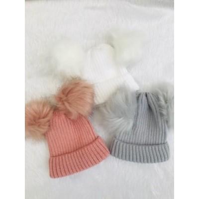 Double Fur Pom Pom Baby Hat