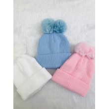 Double Pom Pom Baby Hat Assorted Colours