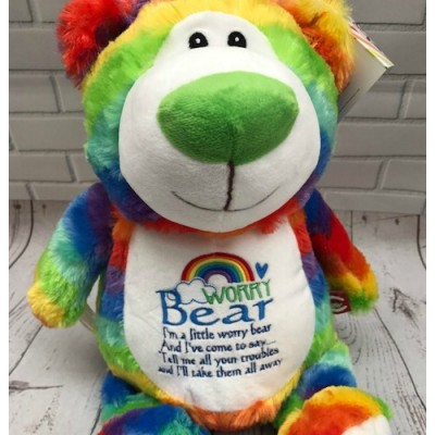 Personalised Rainbow Worry Teddy Bear