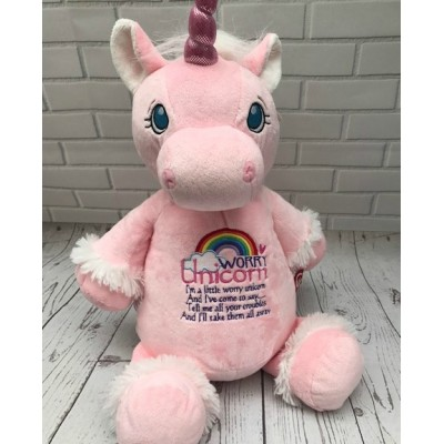 Personalised Worry Unicorn Cubby-Teddy Bear