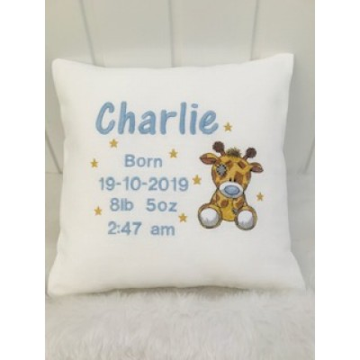 Personalised Little Giraffe New Baby Cushion- Girl/Boy