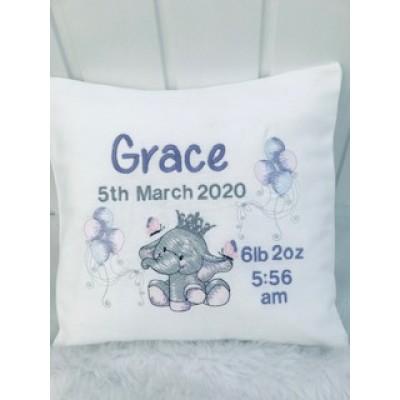 Personalised Little Elephant Cushion-Girl/Boy