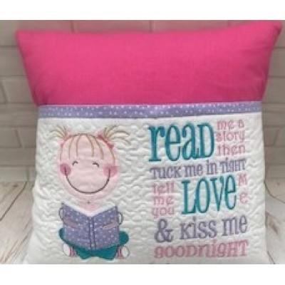 Personalised Reading book Cushion Girl-Monkey design