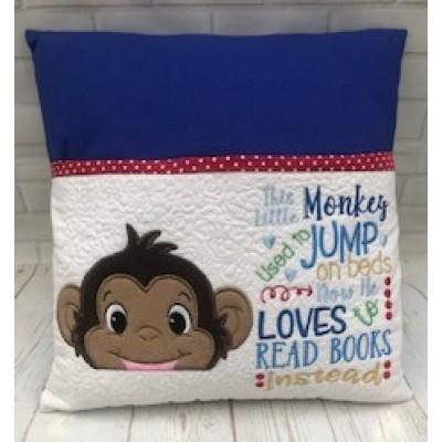 Personalised Reading book Cushion Boy-Monkey design