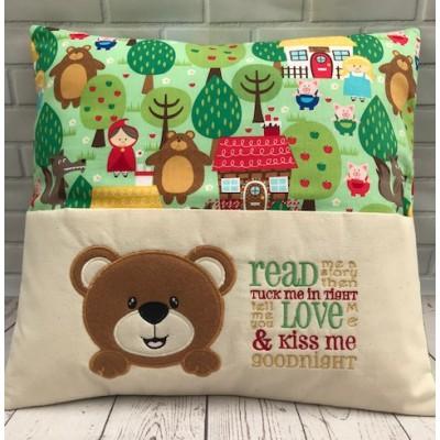 Personalised Reading Book Pocket  Cushion-Fairytale Teddy Design