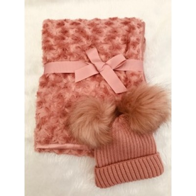 Personalised Rose Gold Baby Blanket And Hat Gift Set
